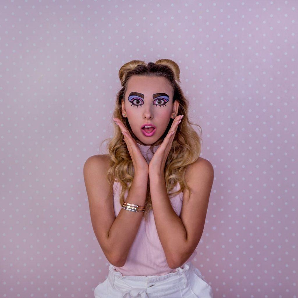 подготовка к фотосессии девушка поп-арт макияж удивлена,завтра фотосессия что делать?